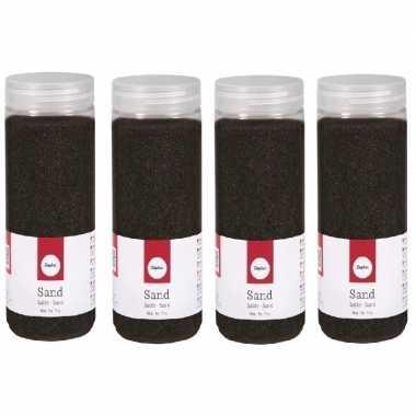 4x 475 ml fijne zandkorreltjes zwart