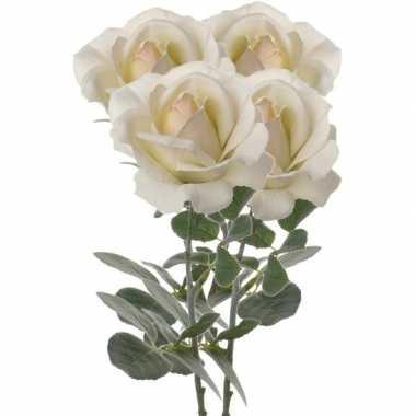 4x creme witte kunstroos kunstbloemen 37 cm decoratie
