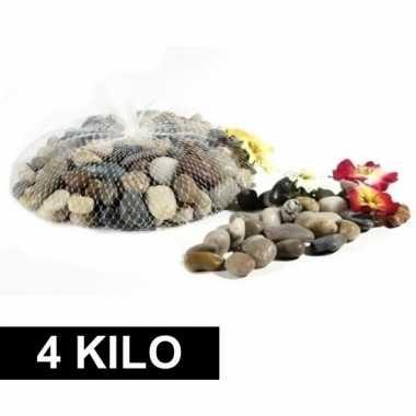 4x deco steentjes in net 1 kg