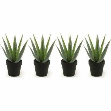 4x groene kunstplant aloe vera succulent plant in pot