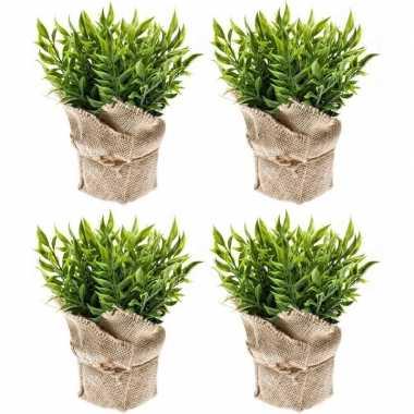 4x groene kunstplanten muizendoorn kruiden planten in pot