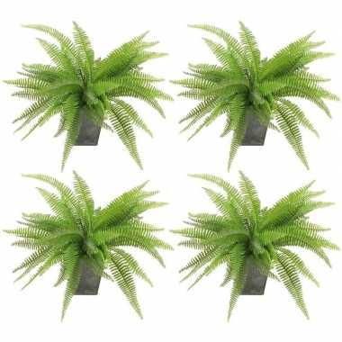 4x groene varen kunstplant 33 cm in zinken pot