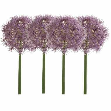 4x lila paarse kunst allium/sierui kunstbloemen 65 cm decoratie