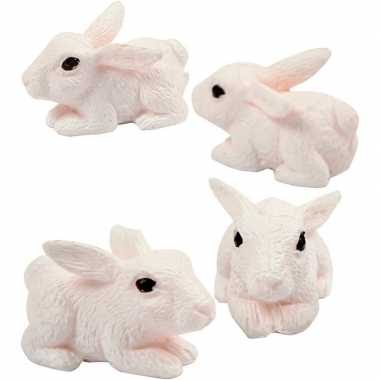 4x miniatuur konijntjes/haasjes 1 cm