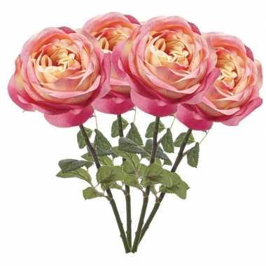 4x roze kunstroos kunstbloemen 66 cm decoratie