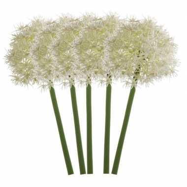 4x witte kunst allium/sierui kunstbloemen 65 cm decoratie