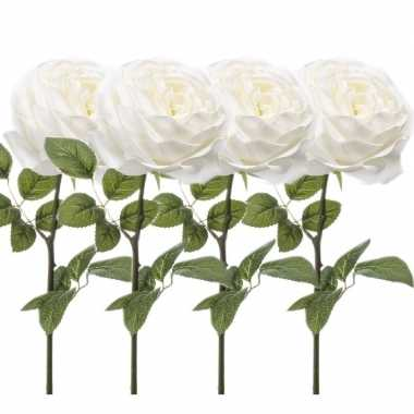 4x witte kunstroos kunstbloemen 66 cm decoratie