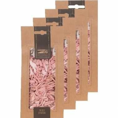 4x zakje lichtroze houtsnippers 150 gram