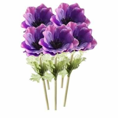 5 stuks paarse anemoon kunstbloemen 47 cm