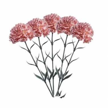 5 stuks perzik kleurige dianthus kunstbloemen 65 cm