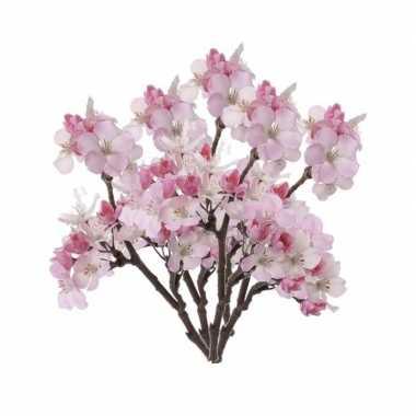 5 stuks roze nep appelbloesem kunstbloemen takken 36 cm