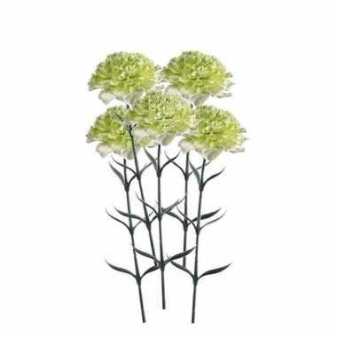 5 stuks wit/groene dianthus kunstbloemen 65 cm