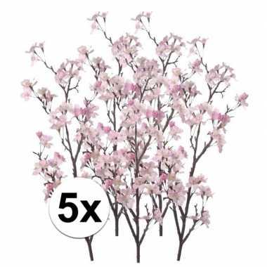 5 takken appelbloesem roze 104 cm