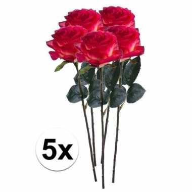 5 x kunstbloemen steelbloem rood gele roos simone 45 cm