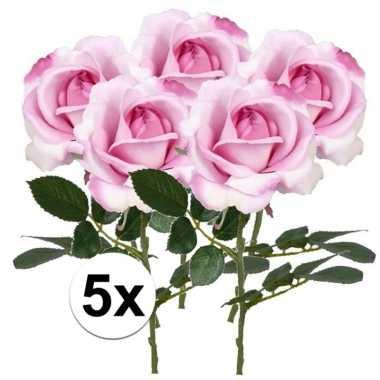 5 x kunstbloemen steelbloem roze roos carol 37 cm