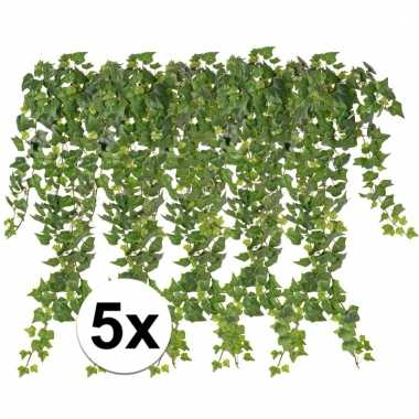 5 x kunstplanten groene klimop 65 cm
