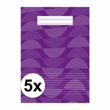 5 x schoolspullen schriften a4 gelinieerd paars