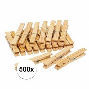 500x houten wasgoedknijpers / knijpers
