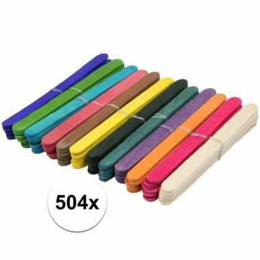 504x knutselstokjes gekleurd