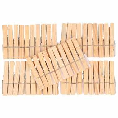 50x houten knijpers 7,5 cm hobbymateriaal om mee te knutselen