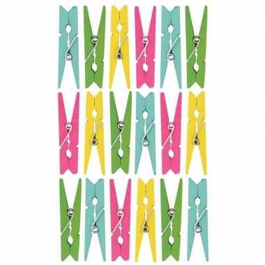 54x gekleurde hobby kaarten/decoratie knijpertjes van hout 5 cm