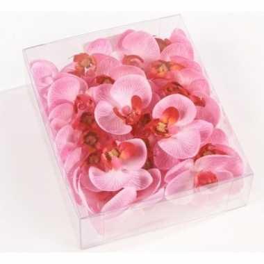 54x nep vlinderorchideeblaadjes roze bruiloft/huwelijk/trouwerij them