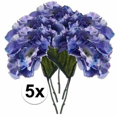 5x blauwe hortensia kunstbloem 28 cm