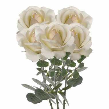 5x creme witte kunstroos kunstbloemen 37 cm decoratie