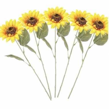 5x gele kunst zonnebloem kunstbloemen 62 cm decoratie