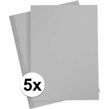 5x grijs kartonnen vel a4