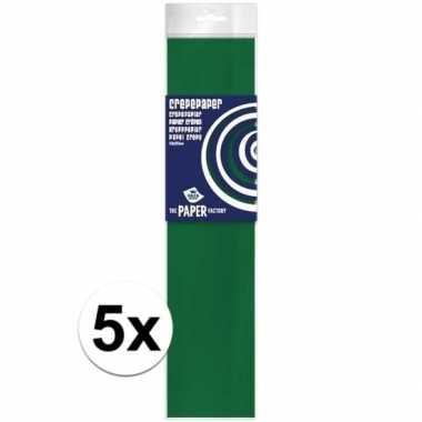 5x hobby crepe papier groen 250 x 50 cm