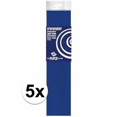 5x hobby crepe papier kobaltblauw 250 x 50 cm
