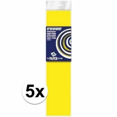 5x hobby crepe papier neon geel 250 x 50 cm