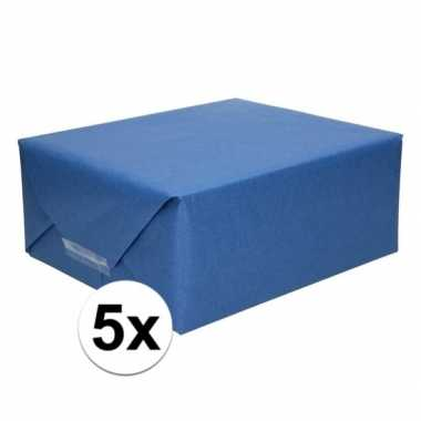 5x kaftpapier donkerblauw 70 x 200 cm kraftpapier