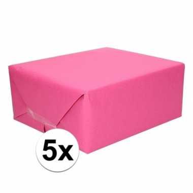 5x kaftpapier fuchsia roze 70 x 200 cm kraftpapier
