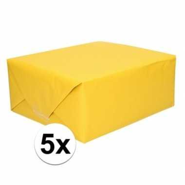 5x kaftpapier geel 70 x 200 cm kraftpapier