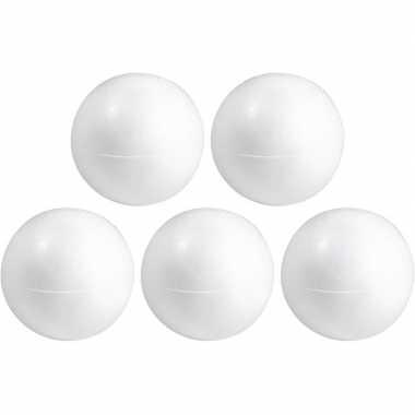 5x knutselmateriaal bal/bol 20 cm halve schalen styrofoam/polystyreen/piepschuim