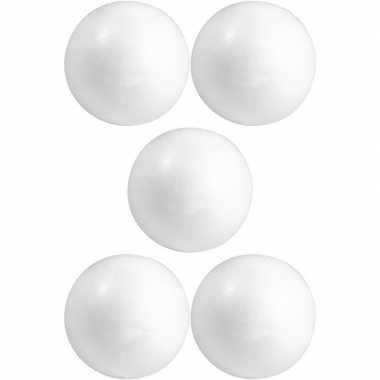 5x knutselmateriaal bal/bol 5 cm styrofoam/polystyreen/piepschuim
