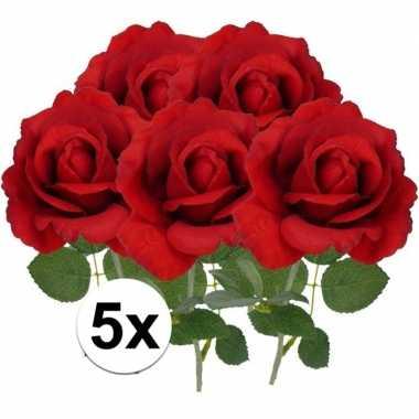 5x kunstbloemen roos rood 37 cm