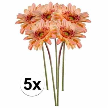 5x kunstbloemen steelbloem perzik oranje gerbera 47 cm