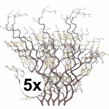 5x kunstbloemen tak bruine hazelaar 66 cm