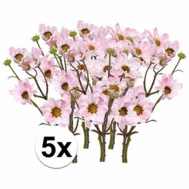5x kunstbloemen tak licht roze margriet 44 cm