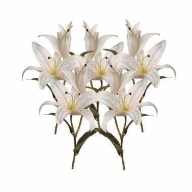 5x kunstbloemen witte lelies 77 cm