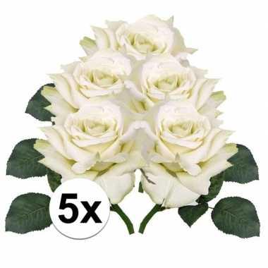 5x kunstbloemen witte roos 31 cm