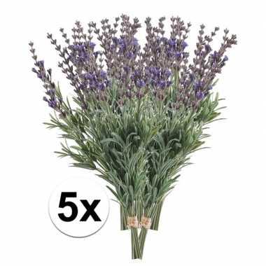 5x lavendel kunst takjes 33 cm
