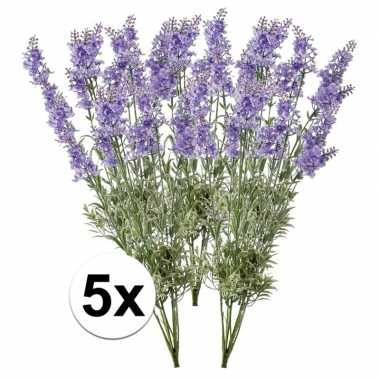5x licht paarse lavendel kunstplant 40 cm