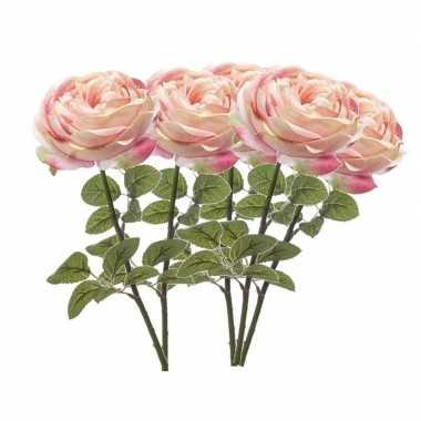 5x lichtroze kunstroos kunstbloemen 66 cm decoratie