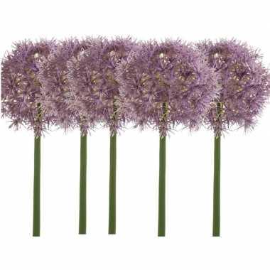 5x lila paarse kunst allium/sierui kunstbloemen 65 cm decoratie