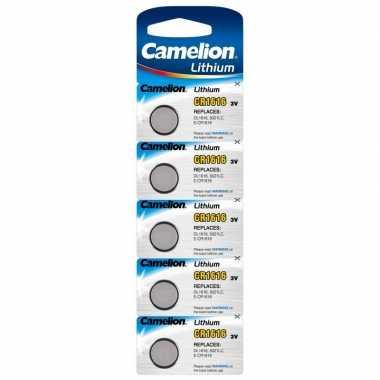 5x lithium knoopcel batterijen cr1616 3v camelion