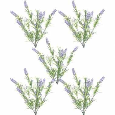 5x nep planten groene/lilapaarse lavandula lavendel kunstplanten 44 c